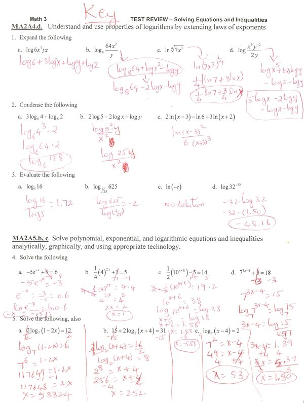 Solving Exponential And Log Equations Test Review Ms Osawaru