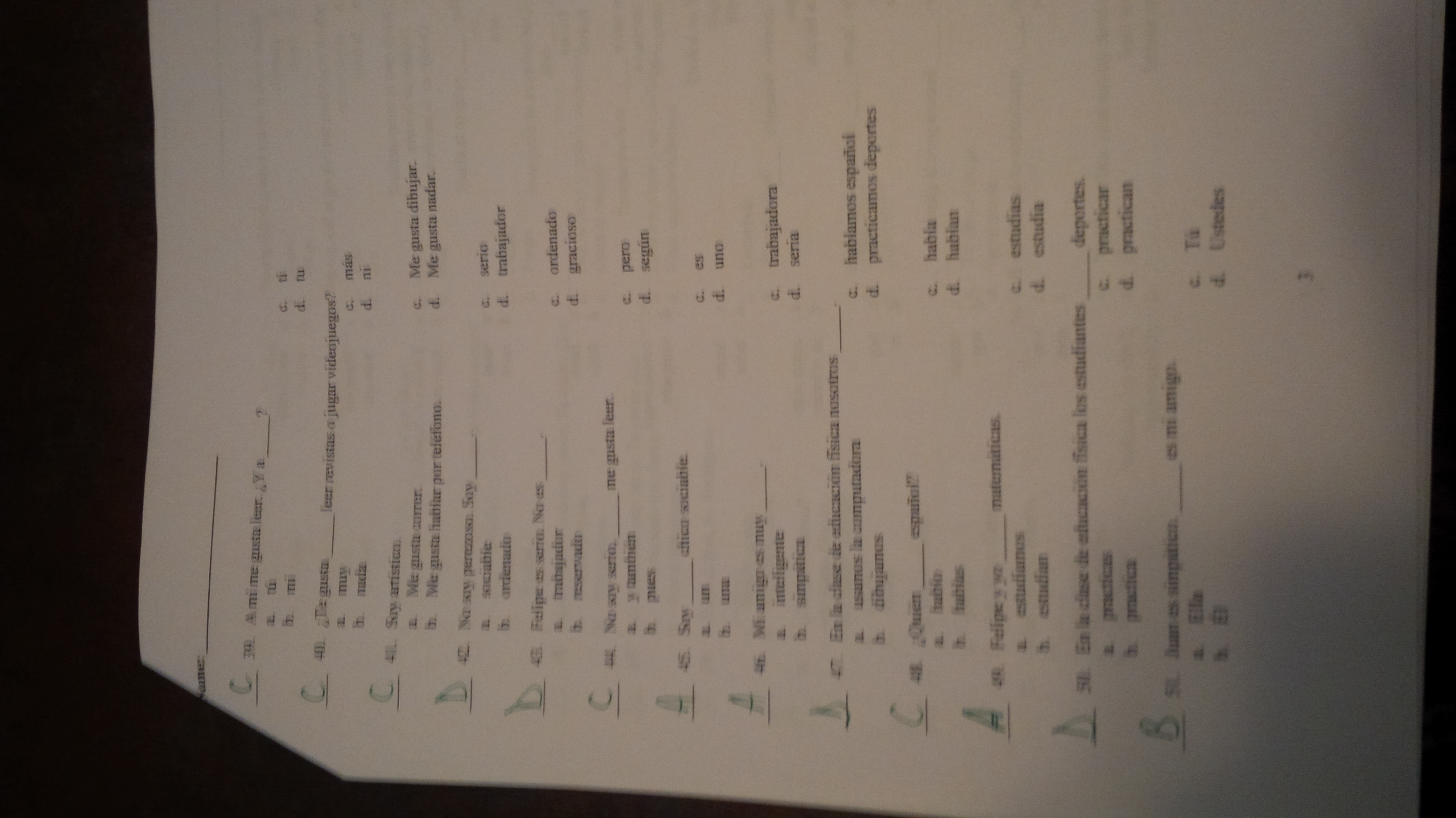 realidades 2 7a test answers