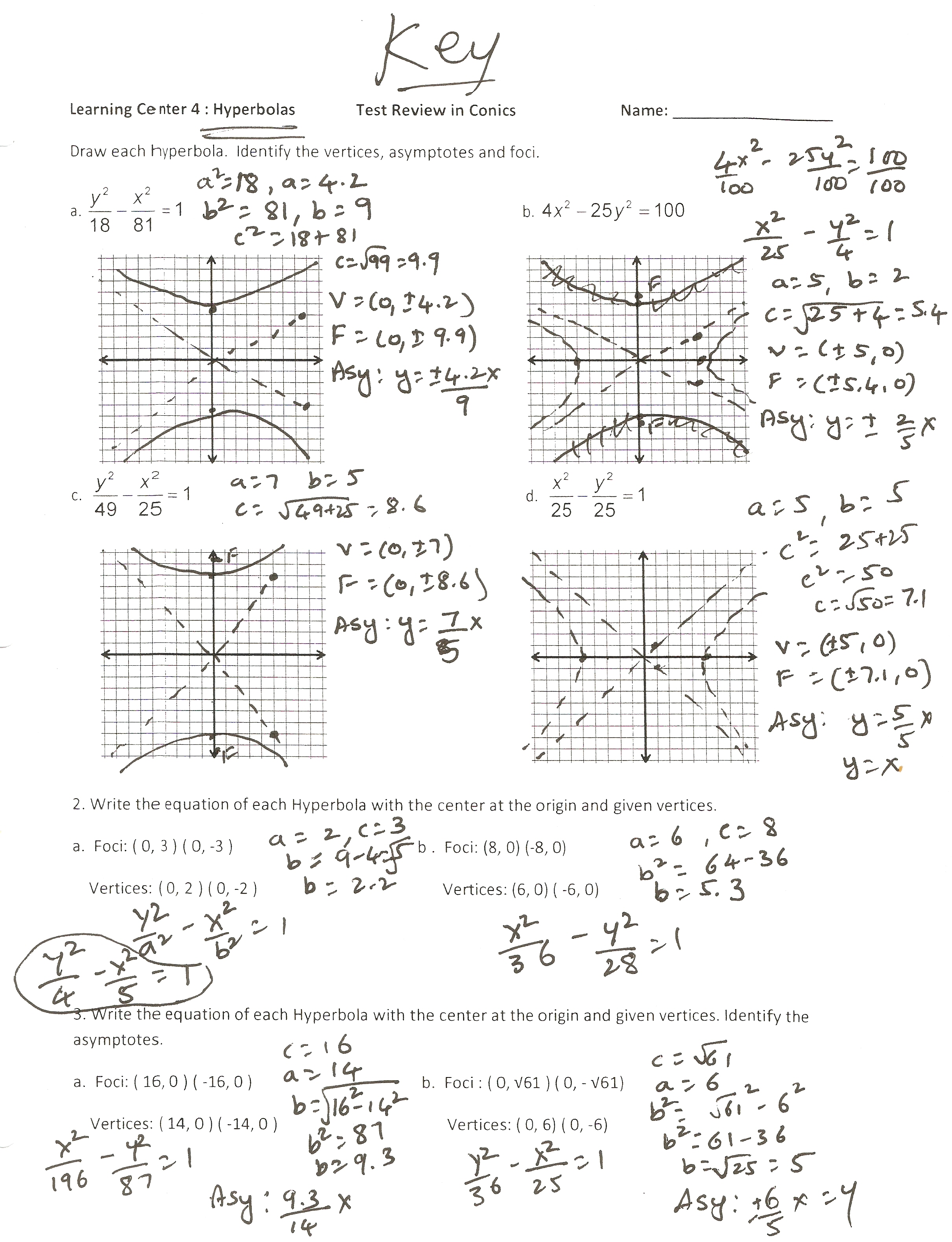 Worksheets Hyperbola Worksheet dr yadavalli april 2011 view this photo hyperbolas