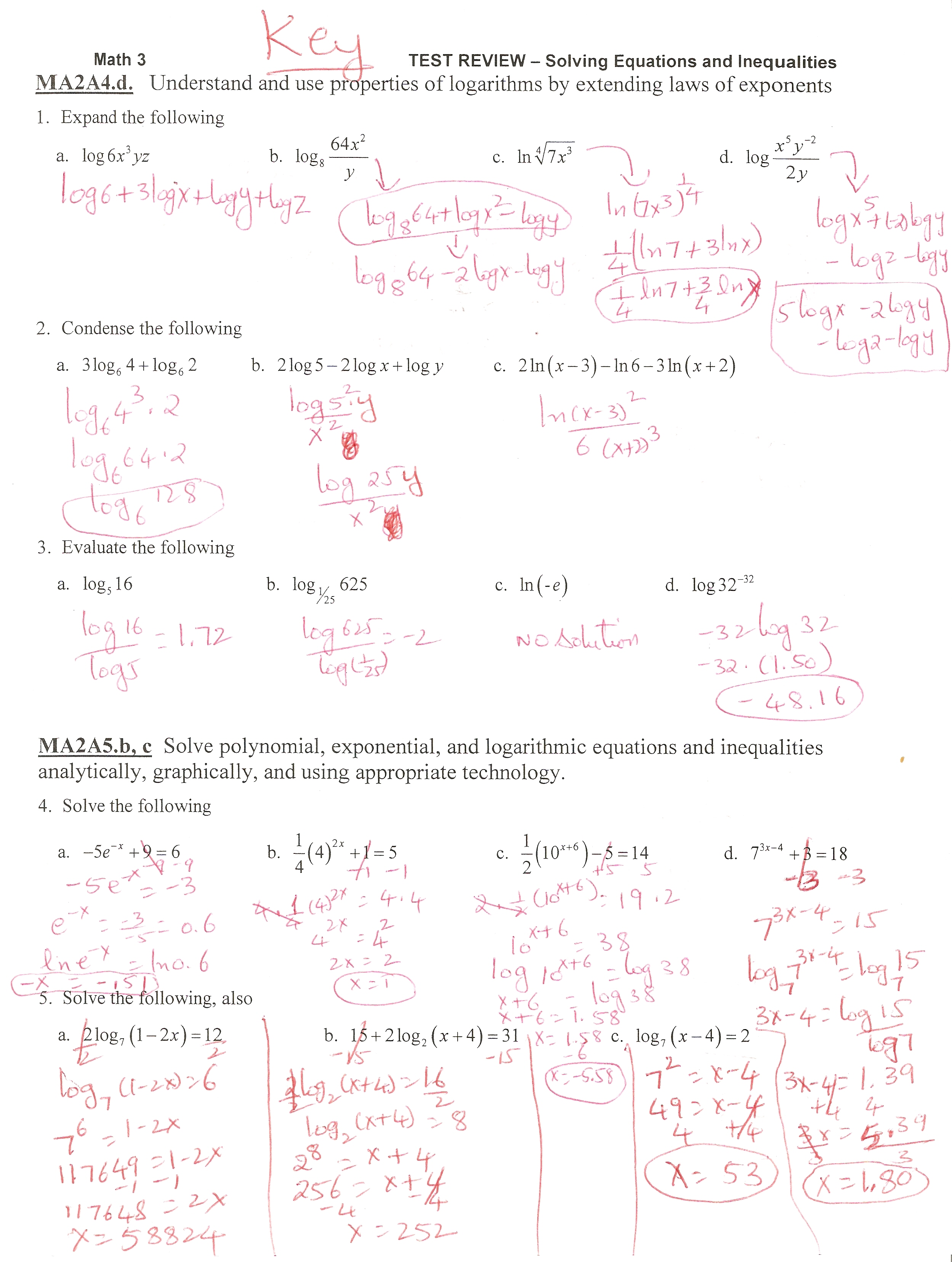 Solving Exponential and Log equations Test Review - Ms  Osawaru