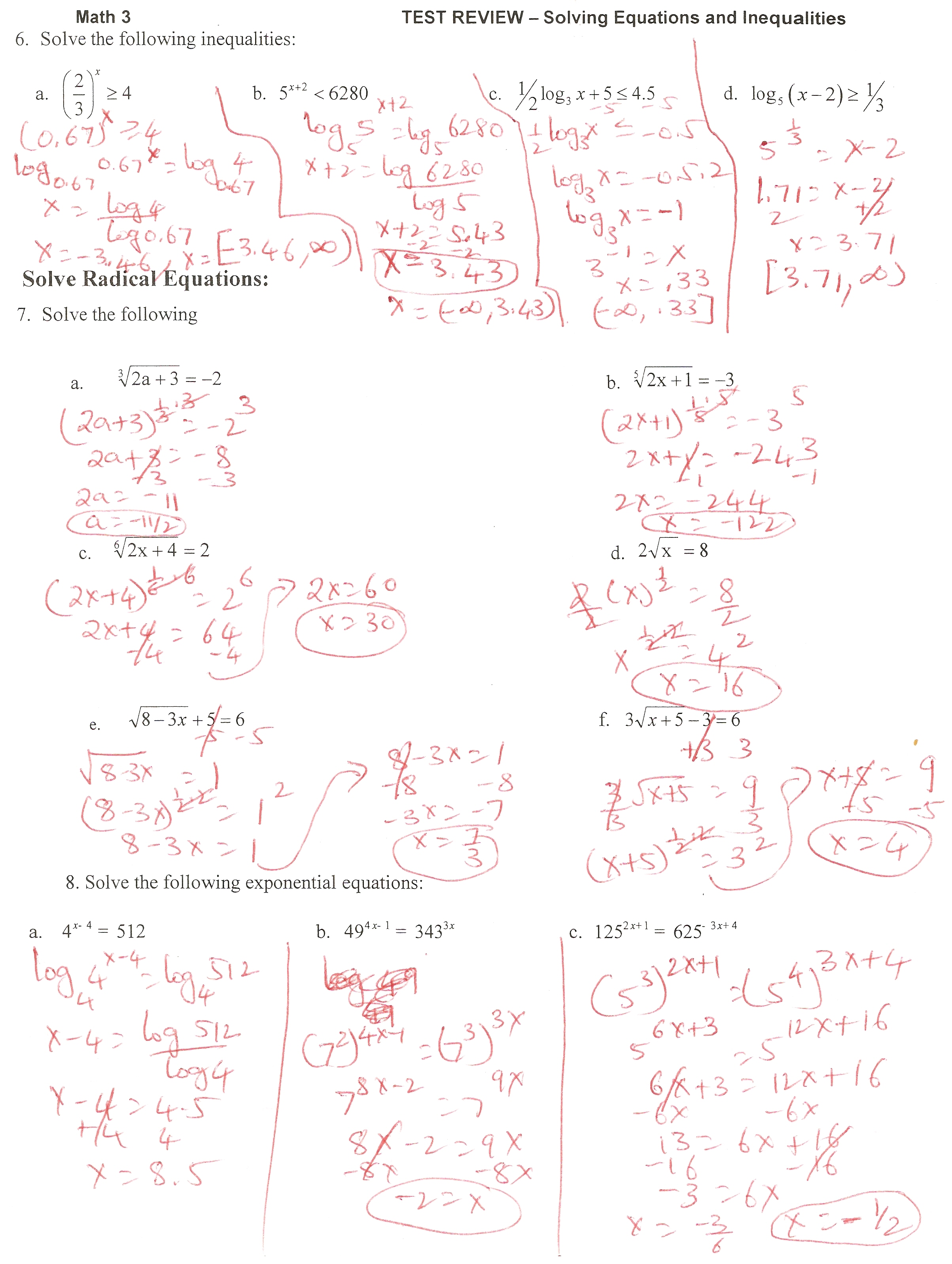 Solving Exponential and Log equations Test Review Ms Osawaru – Solving Radical Equations Worksheet with Answers